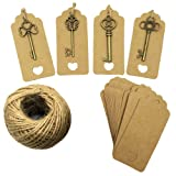 Mmei Set of 40 Vintage Bronze Skeleton Key Charm with Kraft Paper Gift Tags and 30 Yards Natural Jute Twine for Wedding Decoration Favor DIY Crafts (Mix - Bronze) (Color: Mix - Bronze)