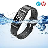HYON Fitness Watch Activity Tracker Heart Rate Blood Pressure Sleep Monitor Smart Band Step Counter Health Pedometer Bracelet Wristband Best Gift for Kids Women Men (Color: Black)