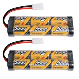 2 Pack 5000mAh 7.2 Volt Nimh RC Car Rechargeable Battery Pack with Tamiya Connectors for RC Cars Duratrax,traxxas rc cars electric, Electric Rc Monster Trucks,Traxxas, LOSI, Associated, HPI, Kyosho