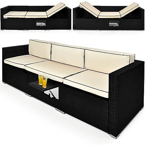 Canapé de jardin Lounge - Divan de jardin table réglable Transat en polyrotin Salon de jardin