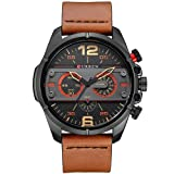CURREN Original Brand Men's Sports Waterproof Leather Strap Wrist Watch 8259 Black Brown Black
