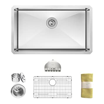Zuhne 30 Inch Undermount Single Bowl 16 Gauge Stainless Steel Kitchen Sink
