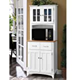 Home Source Industries Brook Tall Microwave Cabinet with 2-Drawer and an Upper and Lower Cabinet, White with Cherry Wood Finish (Color: White, Tamaño: 26.8 inches)