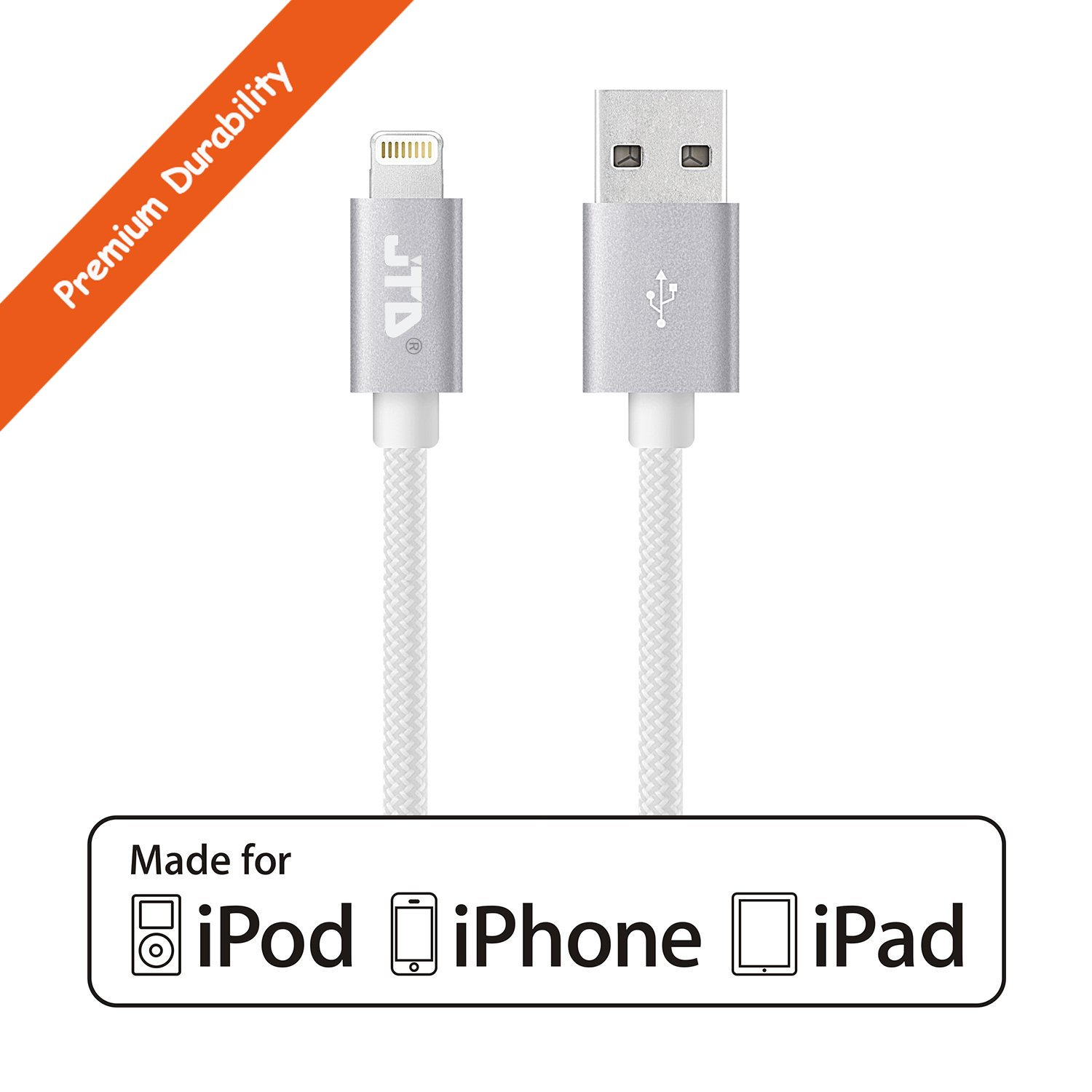Jtd 3 Ft Nylon Braided Lightning To Usb Cable With Ultra Compact Ipod Iphone Charger Wiring Diagram Main Main2 Main3 Main4