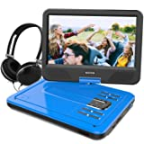 WONNIE 10.5 Inch Portable DVD Player with Swivel Screen, USB/SD Slot Built in 4 Hours Rechargeable Battery (BLUE) (Color: Blue, Tamaño: 10.5 inch)