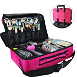 MLMSY Makeup Train Case 3 Layer Cosmetic Organizer Beauty Artist Storage Brush Box with Shoulder Strap(L-Rose Red)