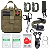 Survival Gear Kit 11 in 1 Molle Pouch EDC Survival Bag, Tactical Compact Water-Resistant EDC Pouch 1000D Nylon with Wire Saw, Emergency Blanket, Shear, Key Rings, ergonomic spoon,Paracord bracelet ect (Color: Green B)