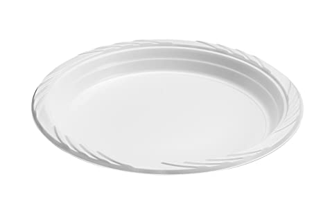 Blue Sky 100 Count Disposable Plastic Plates, 9-Inch, White