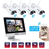 Bechol 1080P HD Wireless Security Surveillance IP Camera System 4CH WiFi NVR with 10.1'' LCD Monitor,and 4pcs Waterproof Video Inputs Security Camera 100ft Night Vision+UL Adapter No Hard Drive (Color: 10.1
