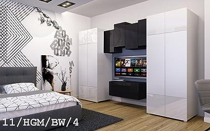 Hermosos muebles para dormitorio - salón FUTURE 11 - con dos Armarios y módulos colgantes (11_HGM_BW_4, sin LED)