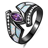 Lady Rings White Fire Opal Purple Cubic ZirconiaBlack Plated Flower Leaf Bypass Party Jewelry Size 10