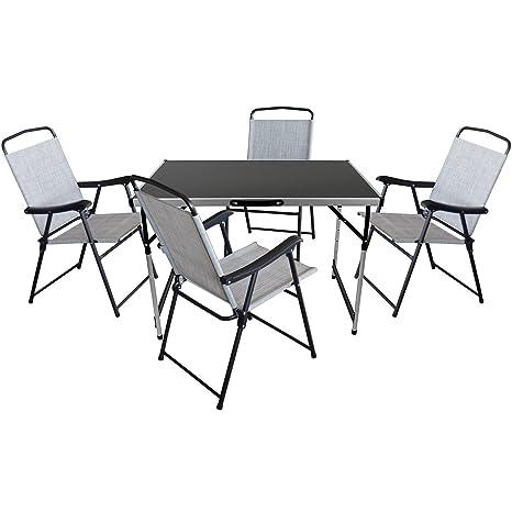 5tlg. Campingmöbel Set Gartengarnitur Campingtisch Klapptisch 100x60cm + 4x klappbare Campingstuhle mit Textilenbespannung Schwarz/Grau