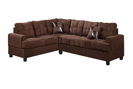 Poundex Bobkona Leo Microfabric 2-Piece Reversible Sectional Sofa, Chocolate