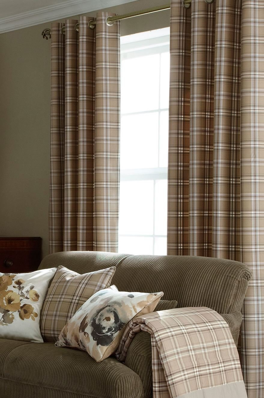 Brown Lined Eyelet Curtains, Tartan Ready Made Curtains, 66 x90        Customer reviews and more description