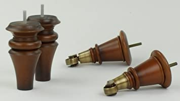 4 x diseño de madera envejecida de madera sólida pies con rueda de latón de acero para muebles de repuesto 165 mm Altura para sofás, sillas, taburetes sofás M8 (8 mm)