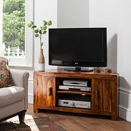 Solid Sheesham Wood Television Stand | Corner TV Unit | Indian