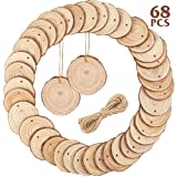 CEWOR Natural Wood Slices 68pcs 2.4-2.7 Inches Craft Wood kit Unfinished Predrilled with Hole and Jute Twine Wooden Circles for Christmas Ornaments DIY Crafts Arts Rustic Wedding Decoration (Color: 2.4