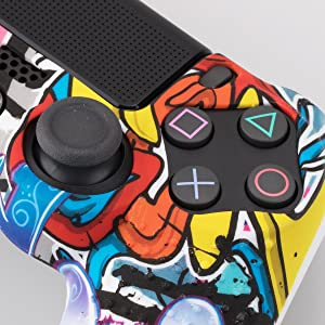 9CDeer 1 Piece of Silicone Studded Water Transfer Protective Sleeve Case Cover Skin + 8 Thumb Grips Analog Caps + 2 dust proof plugs for PS4/Slim/Pro Dualshock 4 Controller, Graffiti (Color: Graffiti, Tamaño: printing)