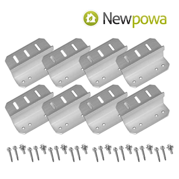 Newpowa 2sets Solar Panel Mounting Bracket Universal Flat Mounts Z Roof Wall (Color: silver, Tamaño: UZ Bracket 2 Sets)