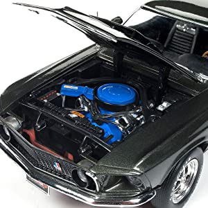 ROUND 2 LLC 1969 Ford Mustang Boss 429 Die Cast - 1:18 Scale Collectible Muscle Car (Color: Black)