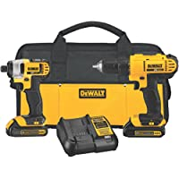 Dewalt DCK240C2 20-Volt Max Lithium-Ion Cordless Drill and Impact Driver Kit + Dewalt Mechanics Tool Set (200-Piece)