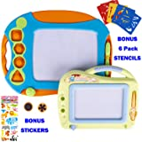 FiGoal 2 Pcs Magnetic Drawing Board for Kids Toddlers with Stencils and Stickers Large 15.8 Inch Educational Doodle Toys Colorful Writing Pad with Travel Size 11 Inch Doodle Sketch Board