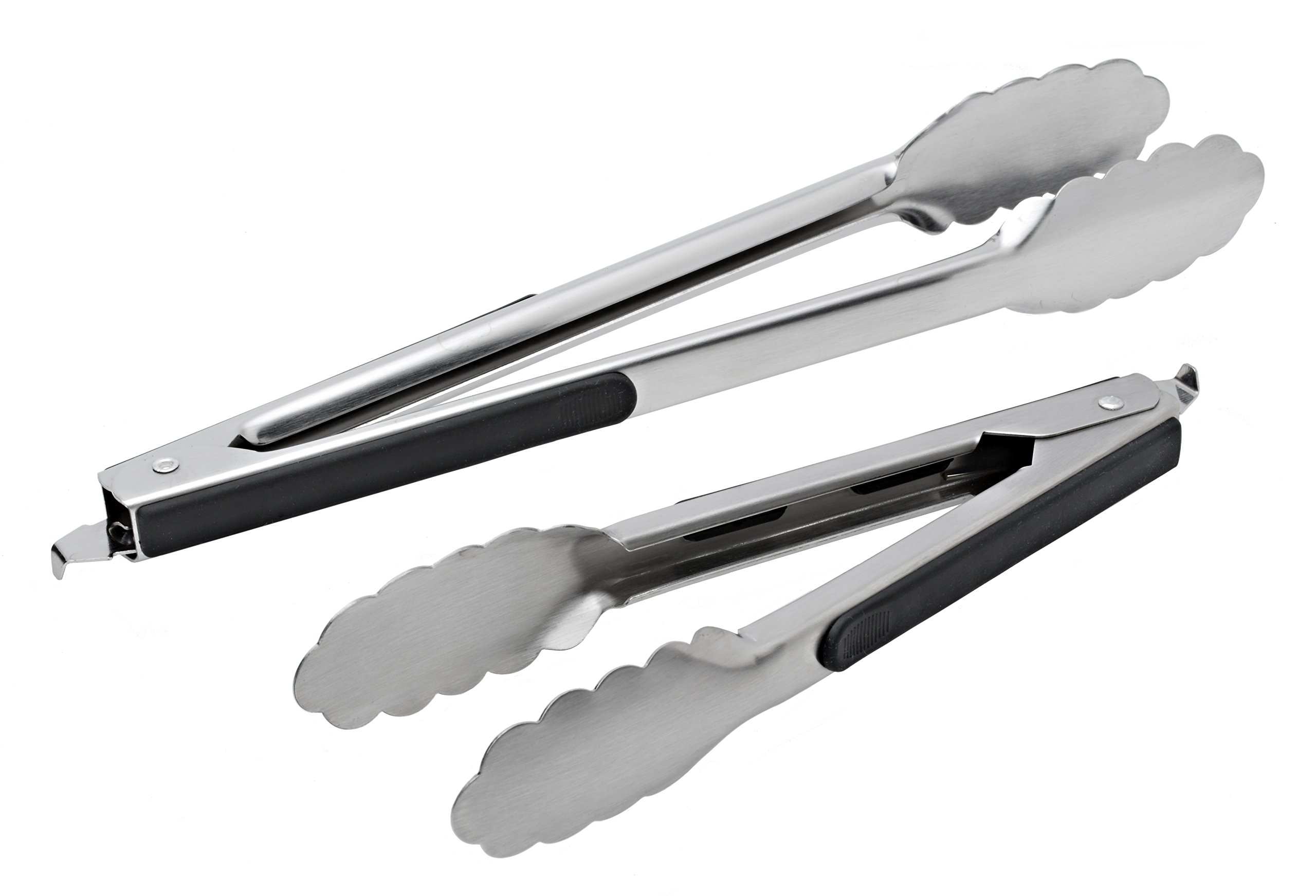 Stainless Steel Kitchen Tongs Set Of 2 (9 Inch & 12 Inch) Salad Serving & Gri.. 2