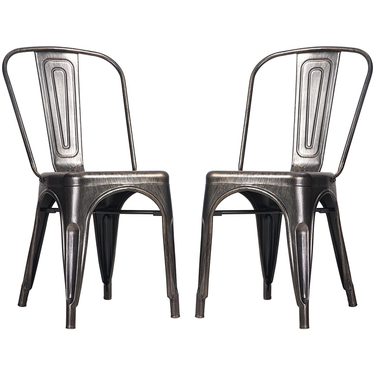 Merax High Back Steel Stackable Vintage Metal Dining Chair, Golden Black (Set of 2) 0