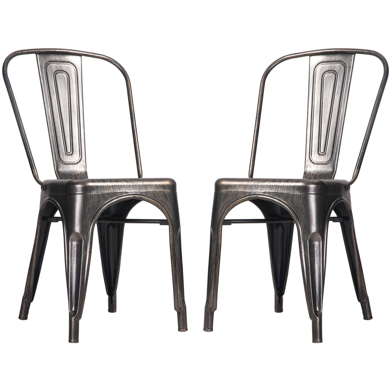 Merax High Back Steel Stackable Vintage Metal Dining Chair Golden Black Set Of 2