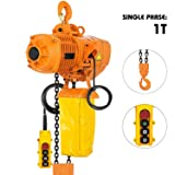 Mophorn 1 Ton Electric Chain Hoist Single Phase 2200Lbs 10ft Lift Height Electrical Hook Mount Chain Hoist G80 Chain Hoist Lift Electric Hoist Double Chain with Pendant Control (1T 110V) (Tamaño: 1T)