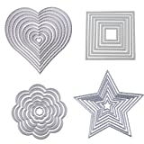 Dies Cut Cutting Die Heart Stitched Square Flower Love Star Nesting Metal Embossing Stencils for DIY Scrapbooking Photo Album Decorative DIY Paper Cards Making Gift Debossing Border 4set (Set 1) (Color: Set 1)