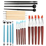 Asayu 23pcs Pottery Clay Sculpting Tools for Pottery Sculpture, 5pcs Double Sided Dotting Tools, 10pcs Rubber Tip Pens, 4pcs Ball Stylus and 4pcs Plastic Black Modeling Tools (Color: 23pcs Pottery Clay Sculpting)