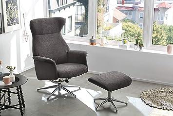Relax Sessel, Fernsehsessel, Funktionsessel, inkl. Hocker, Loungesessel, Chrom, Gestell, verchromt, grau, Kunstleder, Mikrofaserstoff, drehbar
