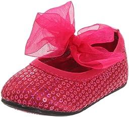 Stuart Weitzman Layette Bling Ballet Flat (Infant/Toddler),Hot Pink,2 M US Infant