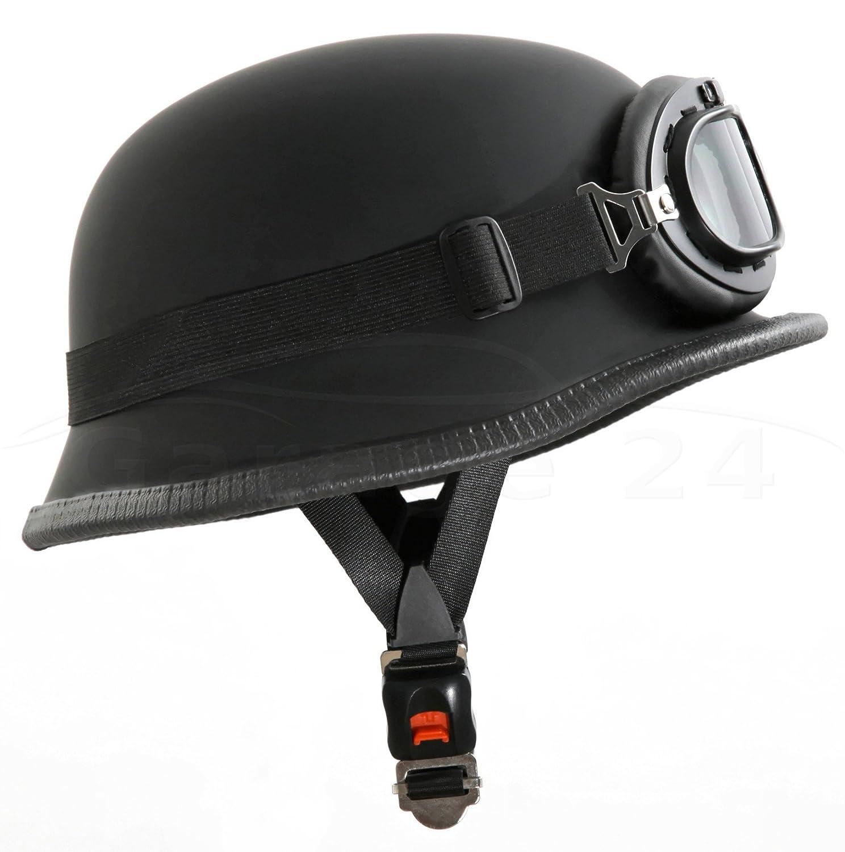 Motorradhelm im Wehrmacht Style mit Brille