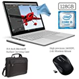 Microsoft Surface Book (128GB, 8GB RAM, Intel Core i5) + 15.6-Inch Microsoft Surface Carrying Case + 2.4G Wireless Portable Mobile Optical Mouse with USB Receiver Bundle
