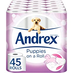 Andrex Puppies On A Roll Toilet Tissue - 45 Rolls