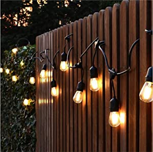 OOOLED 48-Foot Outdoor Weatherproof Commercial Grade String Lights with 16 Hanging Sockets- 18 LED Bulbs 1W S14 Incandescent Bulbs Included-Perfect Pa