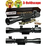 Ledsniper®3-9x40 Tactical Rifle Scope Red & Green Illuminated Mil Dot Optical Gun Scope (Color: BLACK)