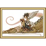 Joy Sunday The Girl Sits on The Dragon Reading A Book Counted Cross Stitch Kits,Cross-Stitch White Blank Fabric Embroidery Kit 14CT 21''x14'' (Color: The girl sat on the dragon)