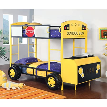School Bus Twin over Twin Bunk Bed Front Hood Table & Storage