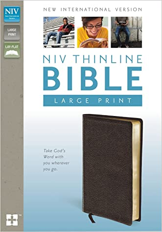 NIV, Thinline Bible, Large Print, Bonded Leather, Brown, Lay Flat written by Zondervan