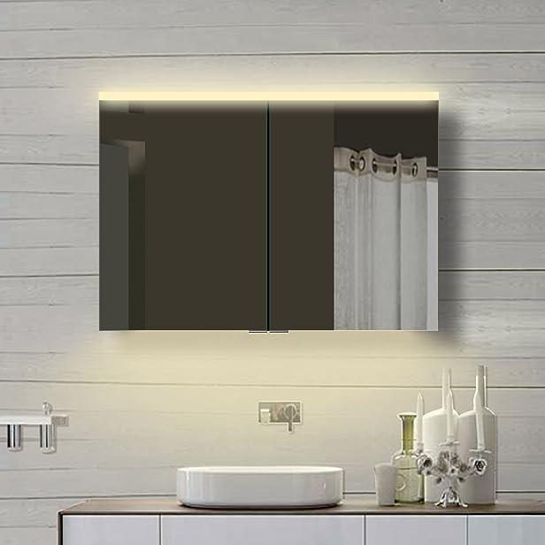 Sunny armadietto a specchio da bagno LED illuminazione caldo e freddo bianco 2X beiderseitig porte a specchio in 6mm Telaio in alluminio 100x 70x 12cm