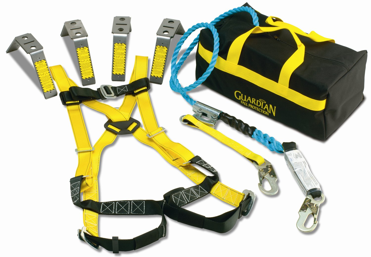 Guardian Fall Protection 00737 Premium Roofer's Kit with 50-Foot Rope, HUV, G-Back Pad, SOS-Bag and 00482 guardian