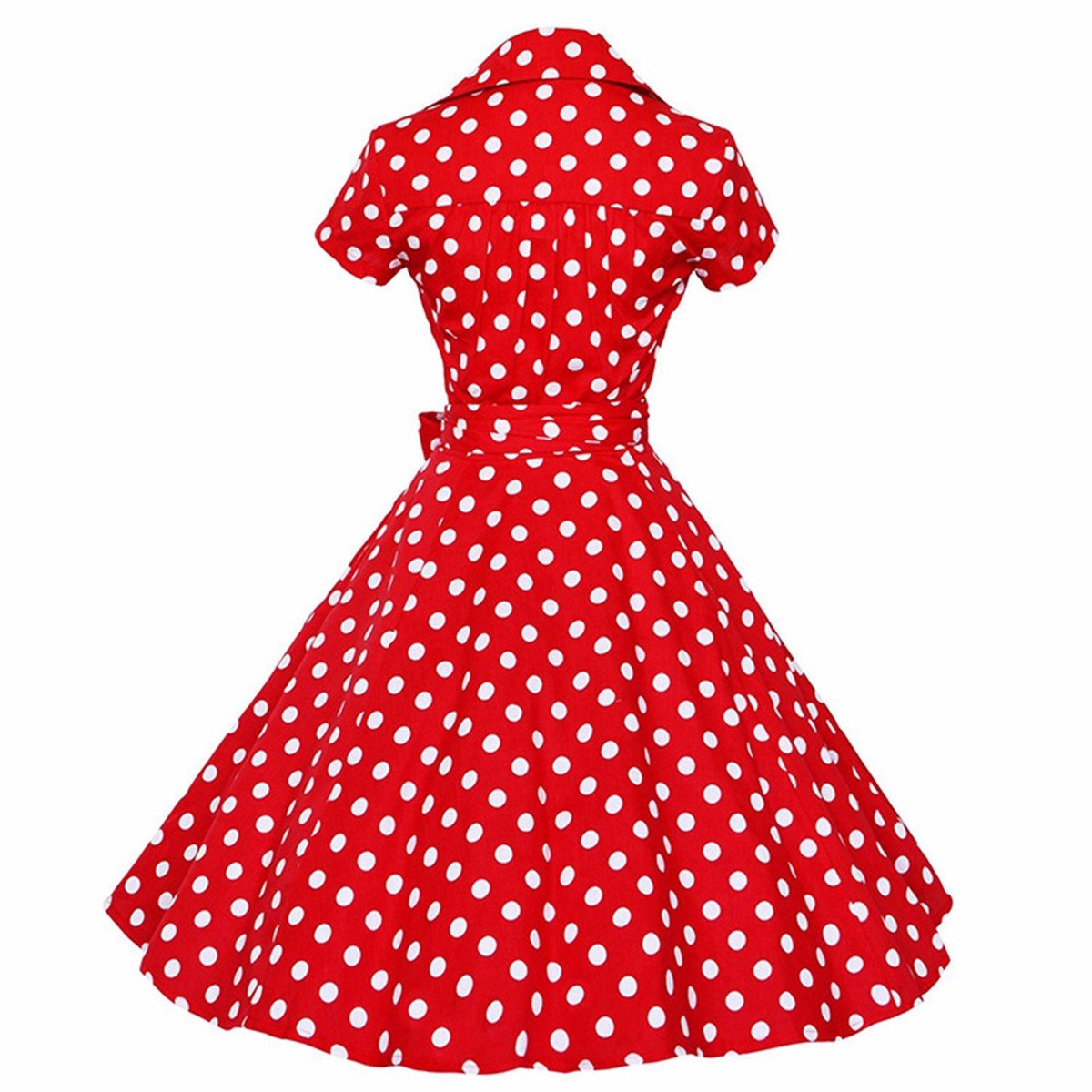 Samtree Womens 50s Style Polka Dot Short Sleeves Rockabilly Vintage Tea Dress 1