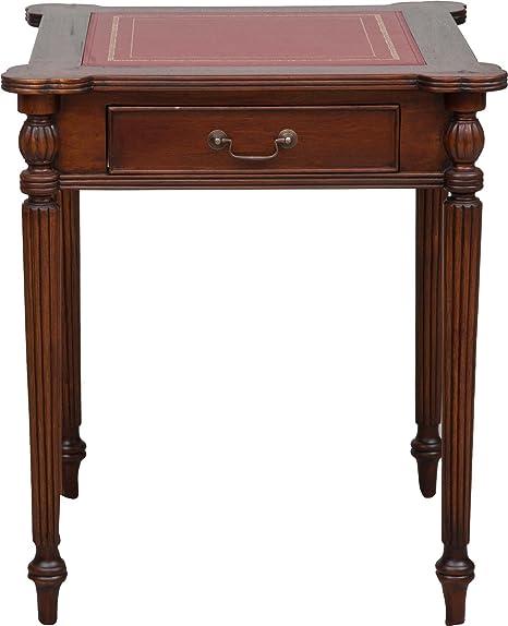 TABLE BASSE EN BOIS ET PEAU ROUGE 65x65x75 CM