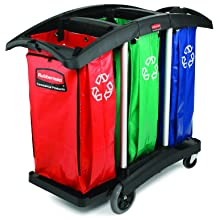 "Rubbermaid Commercial Triple Capacity Cleaning Aluminum Service Cart, Black, 44"" Height, 51-3/4"" Length x 22"" Width"