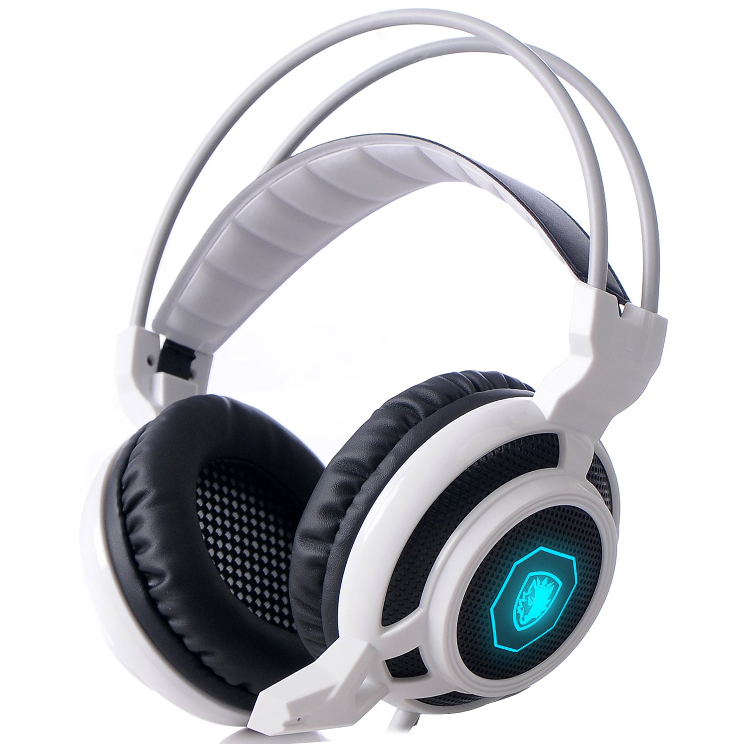 SADES Arcmage 3.5mm Stereo Surround Sound PC Gaming Over-Ear Headband Headphones Wired Noise Cancelling Headset with High Sensitivity Microphone & Volume Control LED Light for PC Gamer /Notebook/Laptop(White)