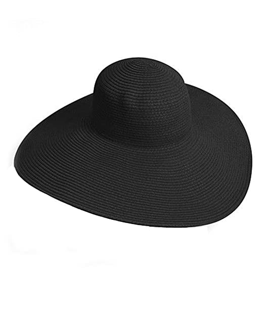 Big Beautiful Solid Color Floppy Hat, Black