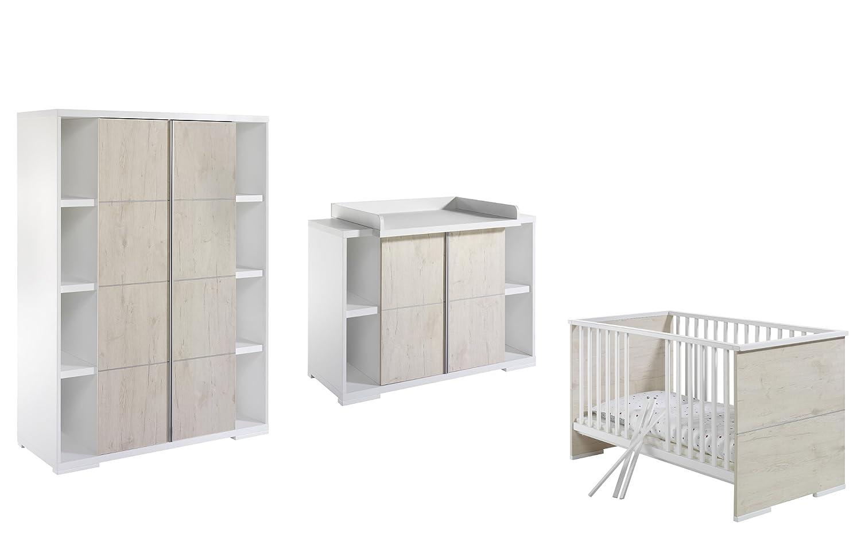Schardt 118635500 Kinderzimmer Maximo Eiche, bestehend aus Kombi-Kinderbett, Wickelkommode und 2-türigem Kleiderschrank, 2 Seitenregalen